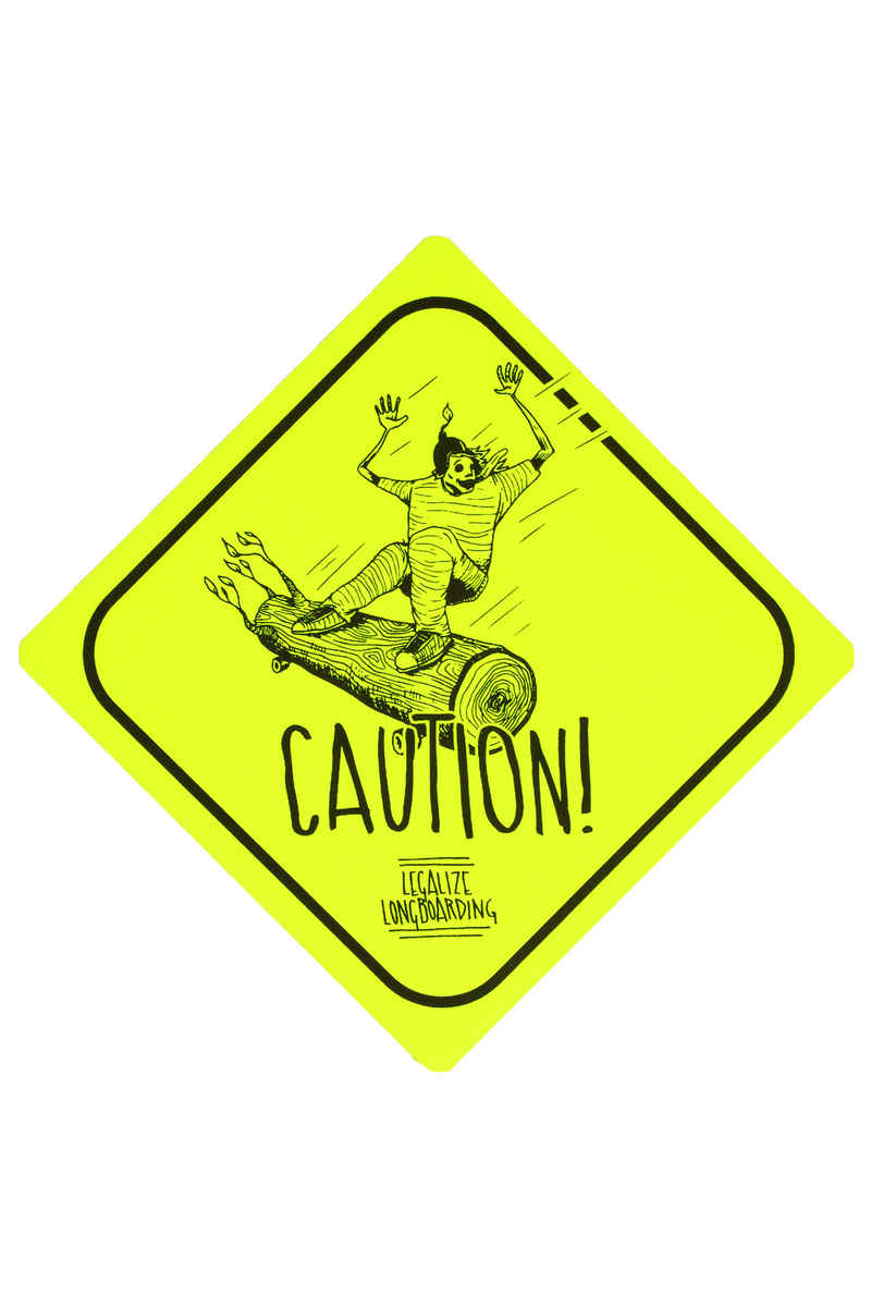 Legalize Longboarding Downhill Caution Pegatinas (yellow fluorescent)