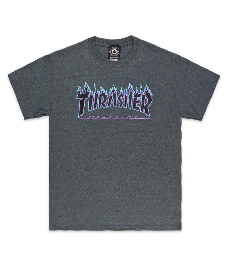 Thrasher Flame T-Shirt (dark heather blue purple)