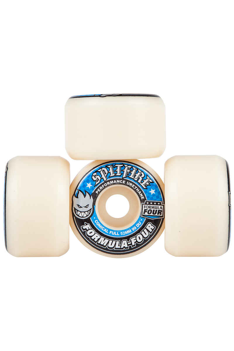 Spitfire Formula Four Conical Full Wheels (white blue) 52mm 99A 4 Pack