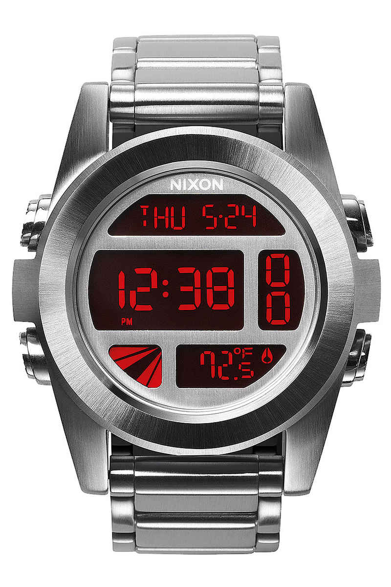 Nixon The Unit SS Watch  (silver red)