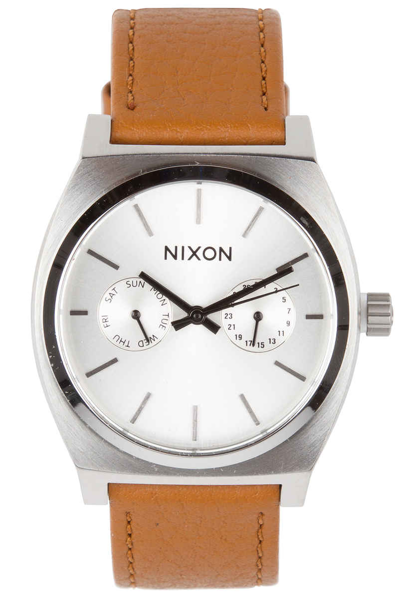 Nixon The Time Teller Deluxe Leather Montre (silver sunray saddle)