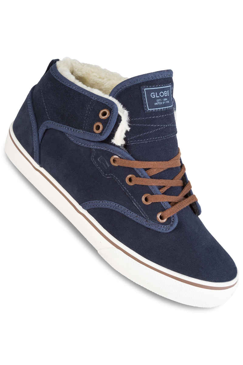 Globe Motley Mid Shoes (navy brown fur)
