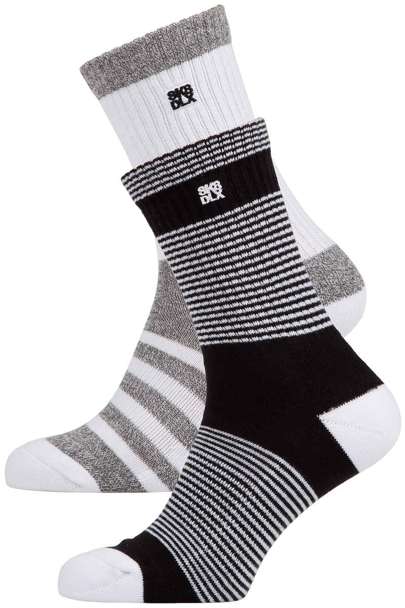SK8DLX Crosswalk Socks US 6-13 (white stripes) 2 Pack