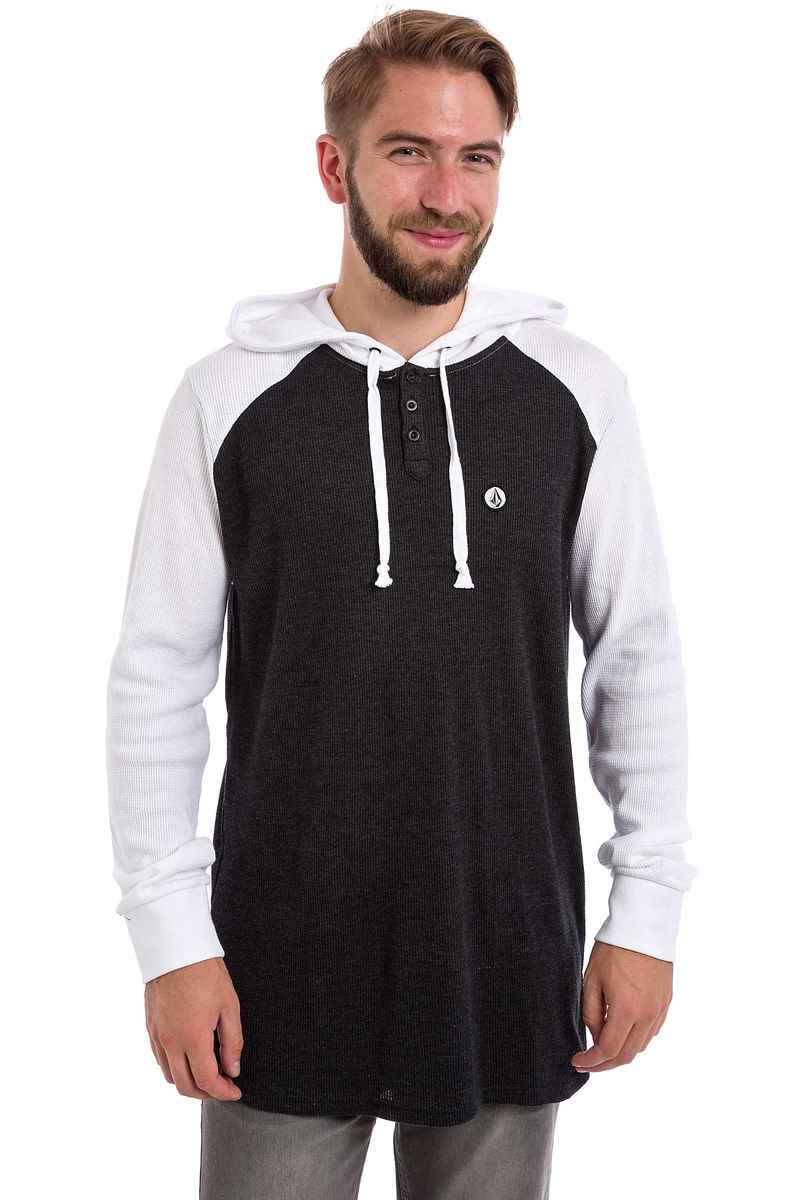 Volcom 3 Button sweat à capuche (black white)
