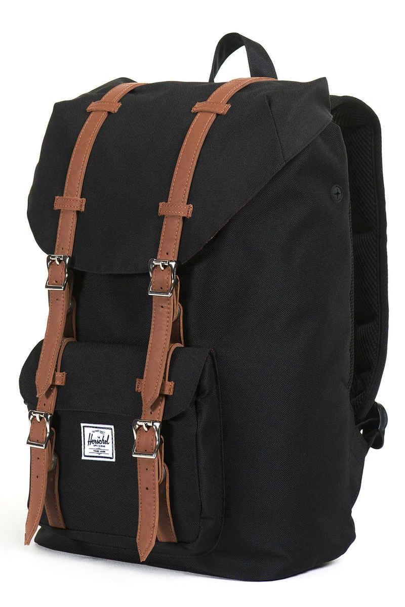 herschel little america mid backpack 17l black tan buy at skatedeluxe. Black Bedroom Furniture Sets. Home Design Ideas