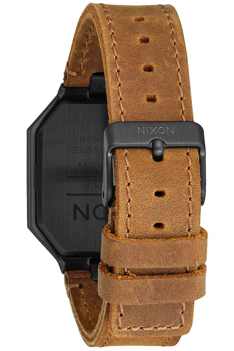 Nixon The Re-Run Leather Uhr (all black brown)
