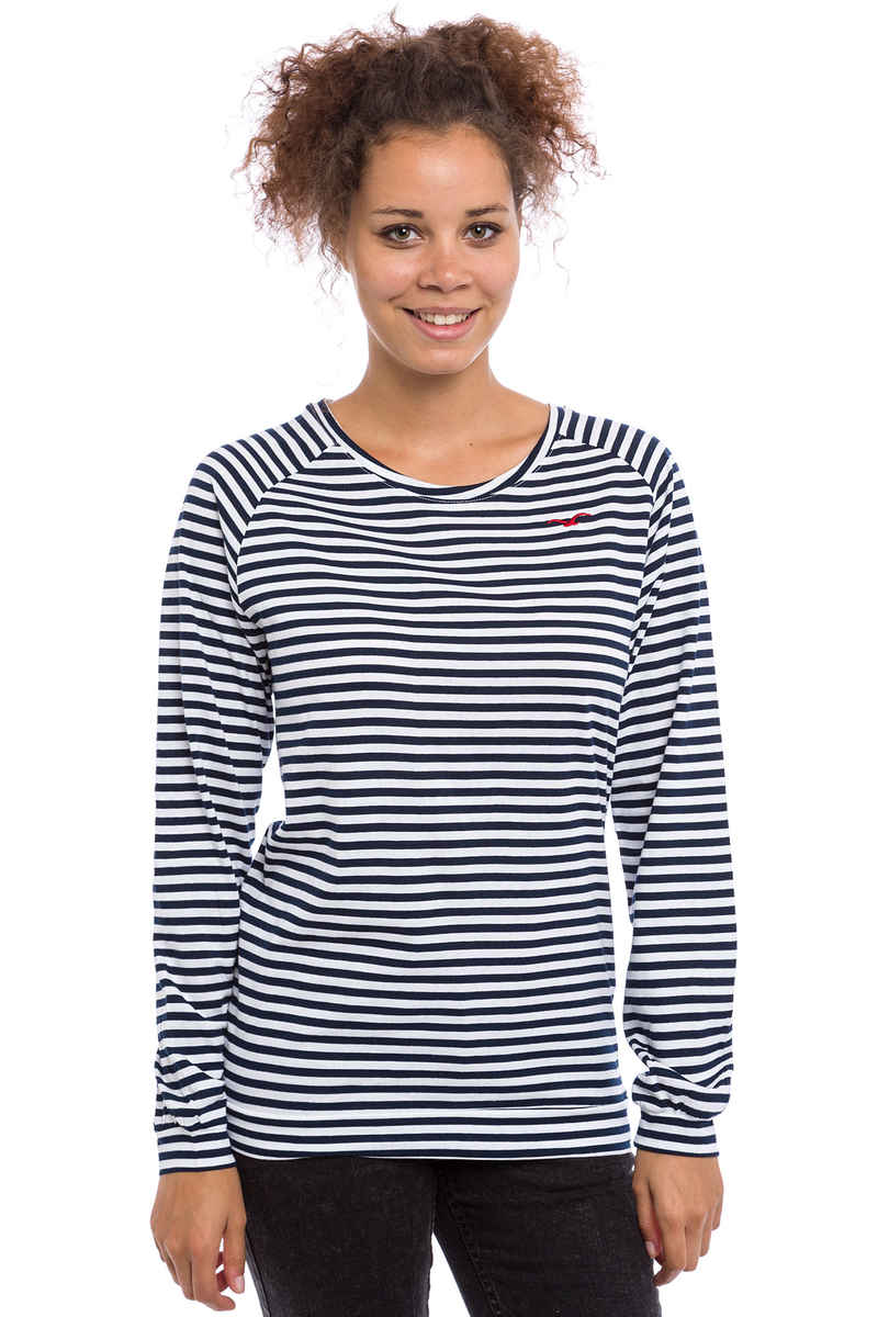 Cleptomanicx Lodato Stripe 3 Camiseta de manga larga women (dark navy)