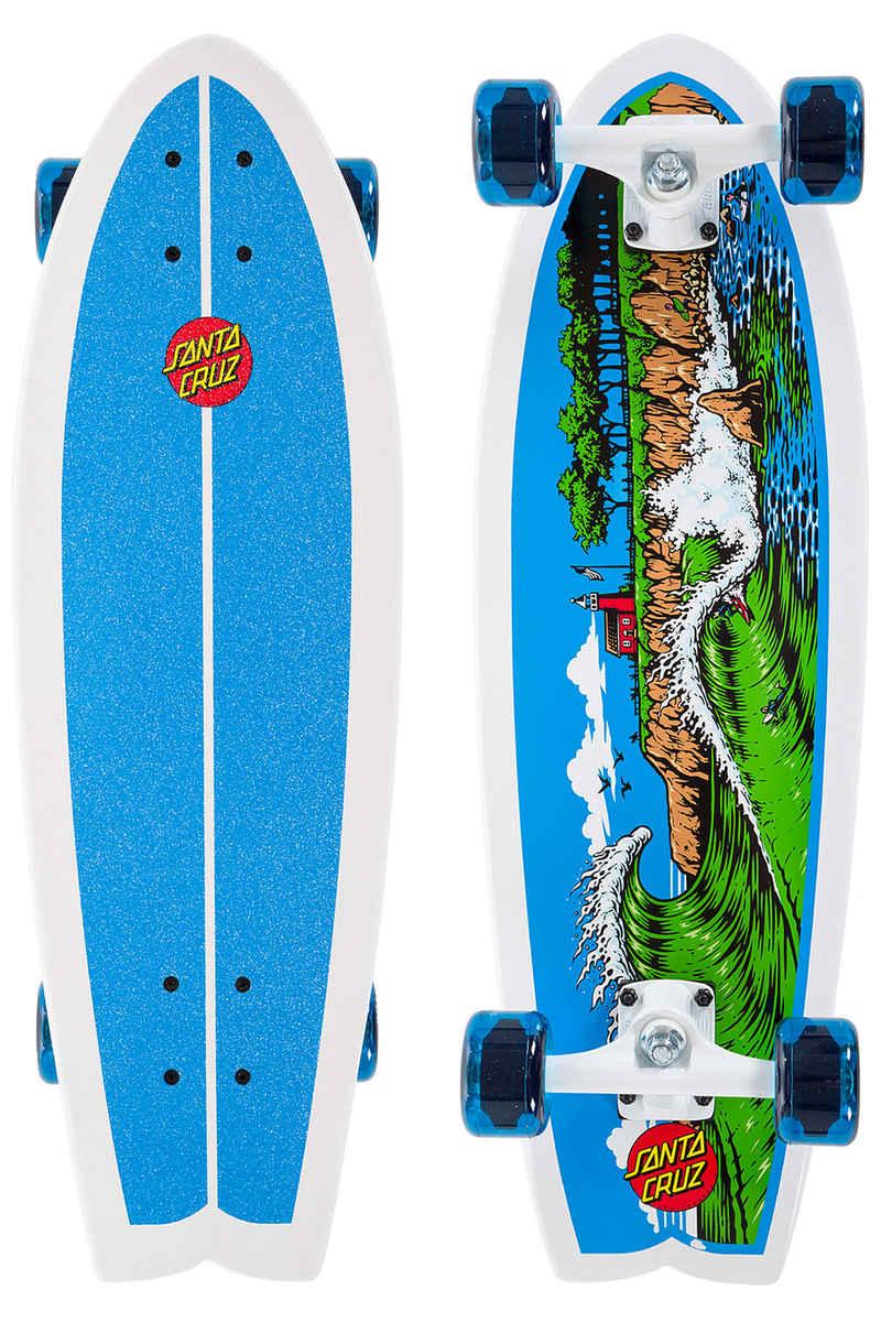 """Santa Cruz Land Shark The Point 8.8"""" x 27.7"""" Cruiser (white blue)"""