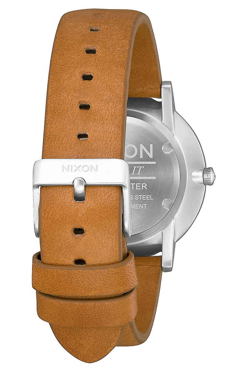 Nixon The Porter Leather Watch (gunmetal charcoal taupe)