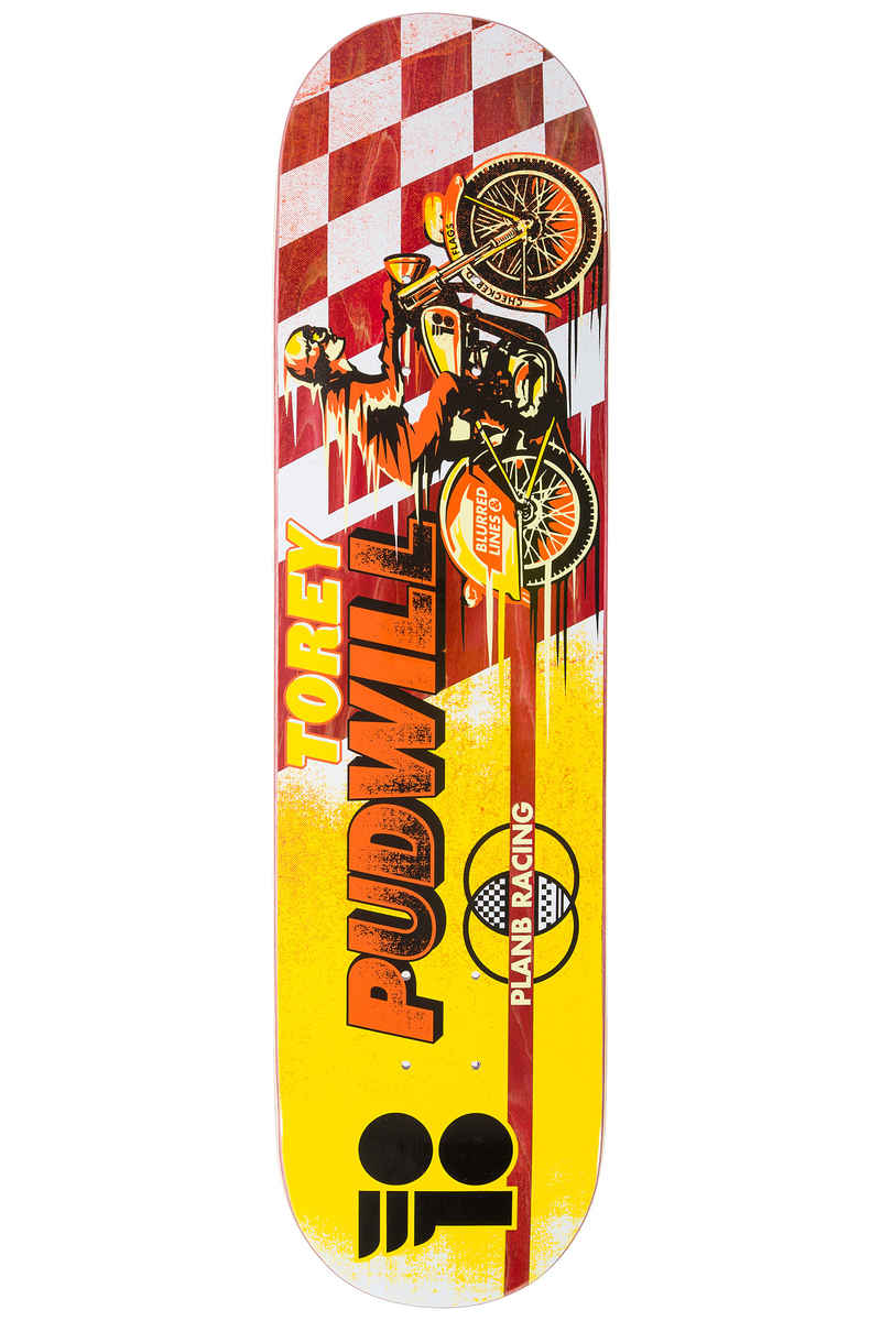 """Plan B Pudwill Victory Pro Spec 7.75"""" Planche Skate (yellow red)"""