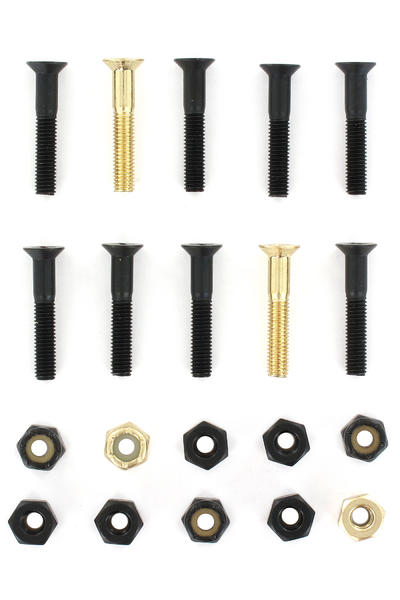 "SK8DLX Nuts & Bolts Gold 1 1/8"" Bolt Pack (black gold) Flathead (countersunk) cross slot"