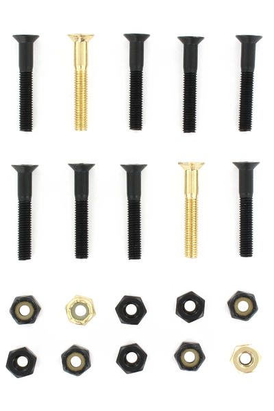 "SK8DLX Nuts & Bolts Gold 1 1/4"" Bolt Pack (black gold) Flathead (countersunk) cross slot"