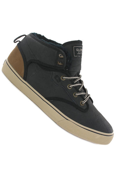 Globe Motley Mid Leather Schuh (black golden brown fur)