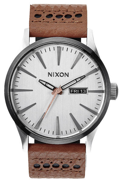 Nixon The Sentry Leather Watch (saddle silver)