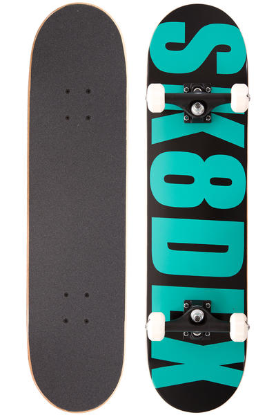"SK8DLX Letter 7.75"" Complete-Board (black turquoise)"