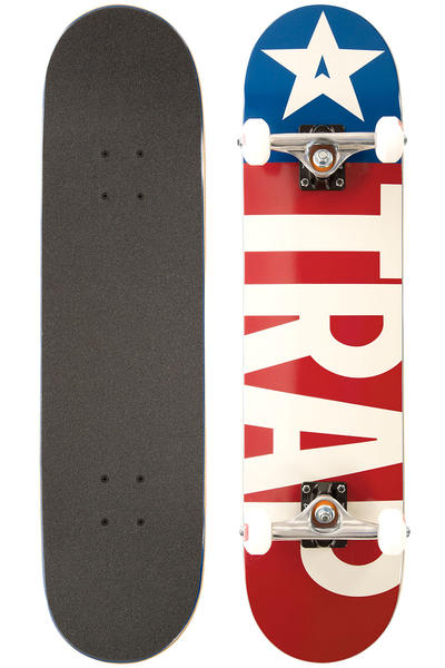 "Trap Skateboards Classic Big Flag 7.625"" Complete-Board (red white)"