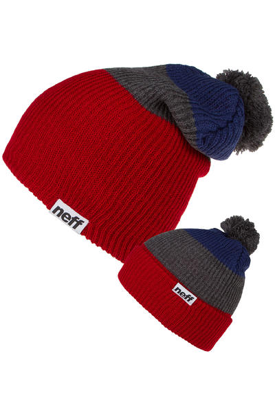 Neff Snappy Beanie (red grey navy)