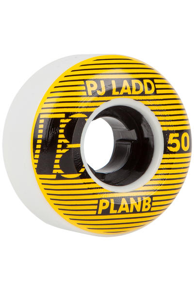 Plan B Ladd Striped 50mm Rollen (white yellow) 4er Pack