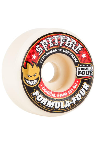 Spitfire Formula Four Conical 51mm Rollen (white red) 4er Pack