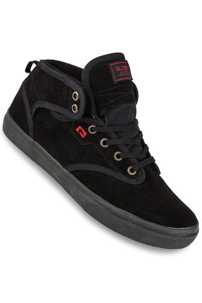 Globe Motley Mid Suede Shoe (black black red)