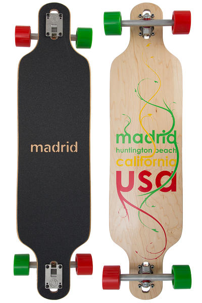 "Madrid Trance Maxed DT 39"" (99cm) Complete-Longboard (plant rasta)"