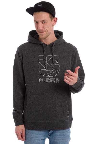 Burton Logo Vertical Hoodie (true black heather)