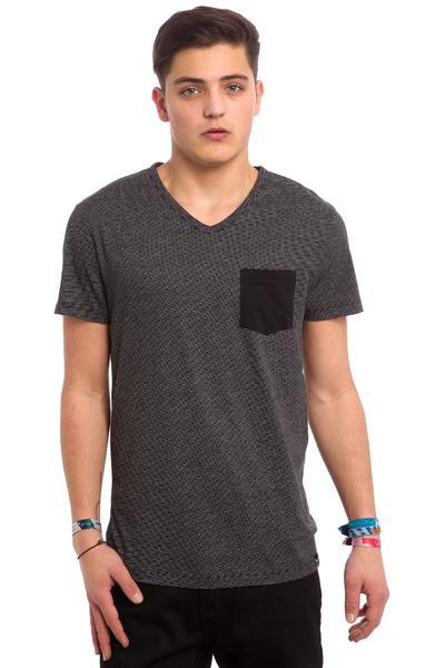 Iriedaily V-Pocket Ringel T-Shirt (black melange)