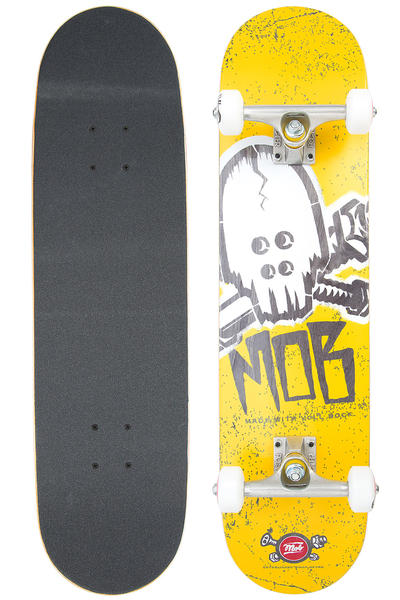 "MOB Skateboards Skull Stencil 7.625"" Complete-Board (yellow)"