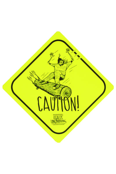 Legalize Longboarding Downhill Caution Sticker (yellow fluorescent)