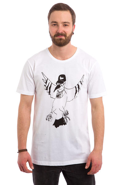 Cleptomanicx Ghetto Bird T-Shirt (white)