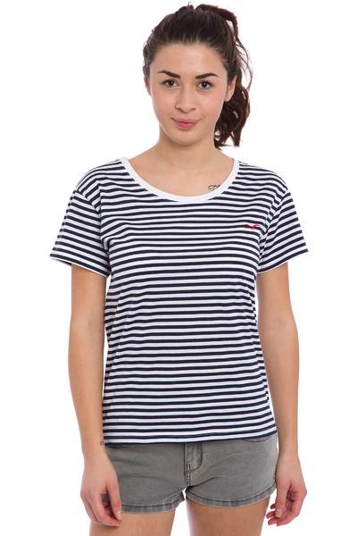 Cleptomanicx Möwe Stripes T-Shirt women (dark navy)