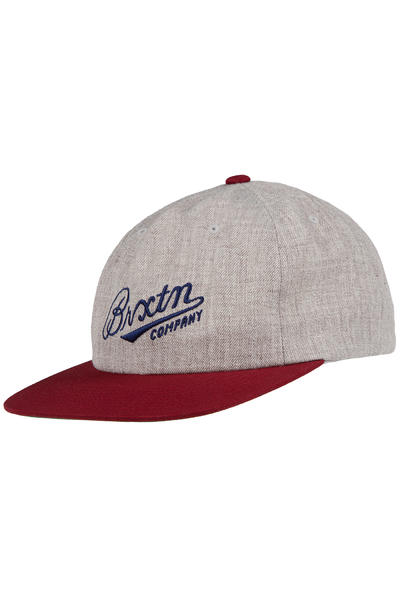 Brixton Fenway Snapback Cap (heather grey burgundy)