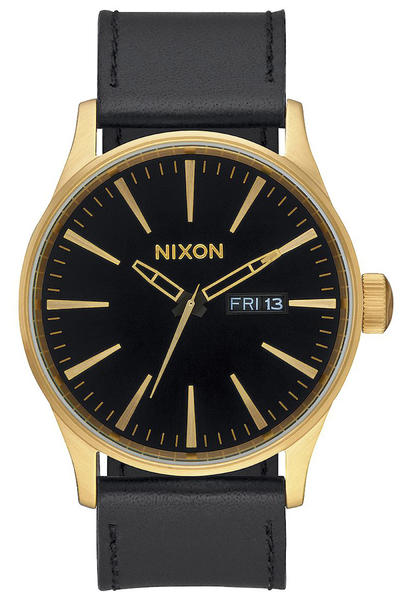 Nixon The Sentry Leather Watch (gold black)