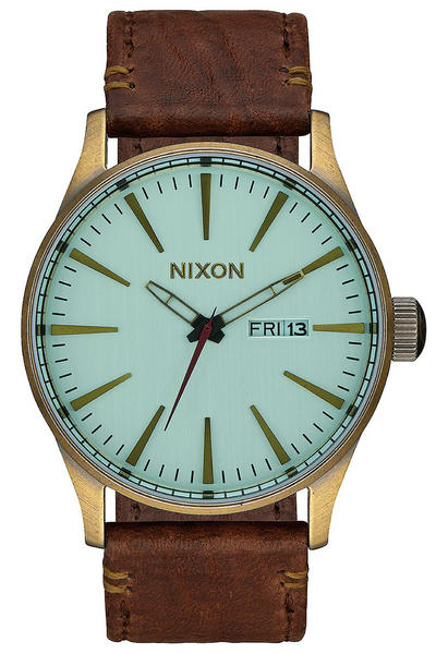 Nixon The Sentry Leather Watch (brass green crystal brown)