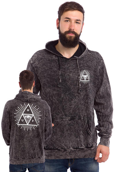 HUF Third Eye Triangle Acid Wash Hoodie (black)