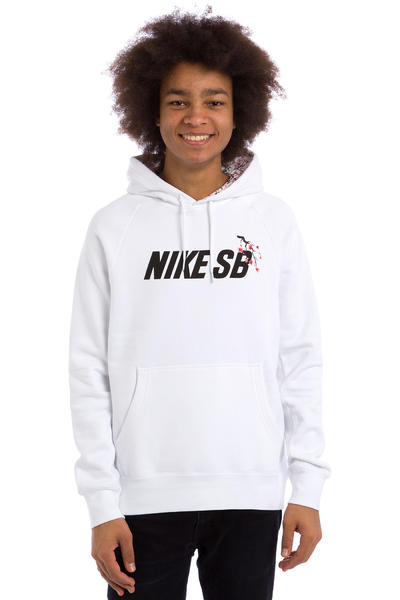 Nike SB Icon Cherry Blossom Hoodie (white black)