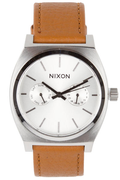 Nixon The Time Teller Deluxe Leather Watch (silver sunray saddle)