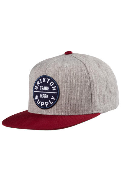 Brixton Oath III Snapback Cap (light heather grey burgundy)