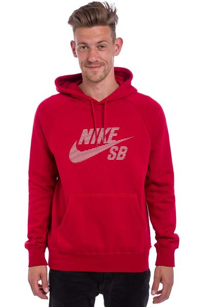 Nike SB Icon Pullover Stripe Hoodie (gym red)