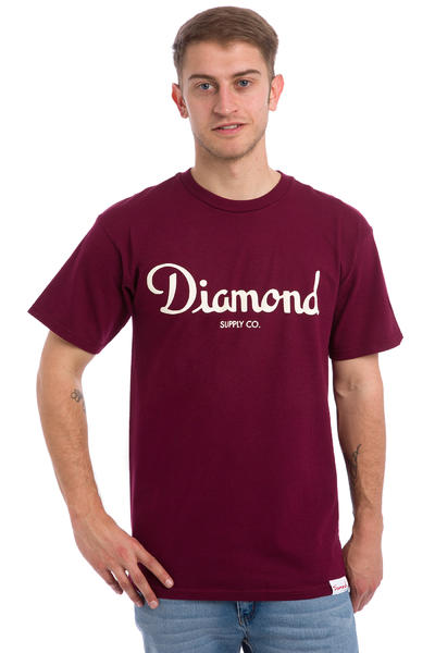 Diamond Champagne Script T-Shirt (burgundy)