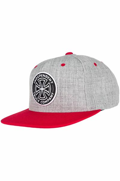 Independent ITC Cross Snapback Cap (heather grey cardinal red)