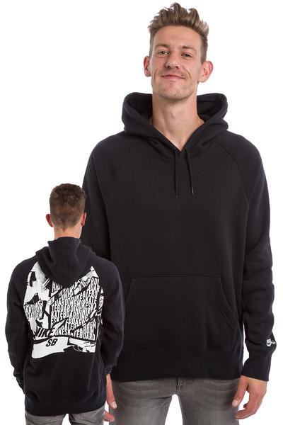 Nike SB Icon Ripped Hoodie (black white)