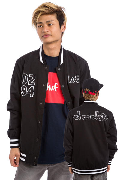 HUF x Chocolate Chunk Varsity Jacket (black white)