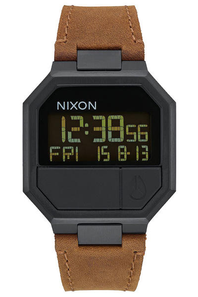 Nixon The Re-Run Leather Watch (all black brown)