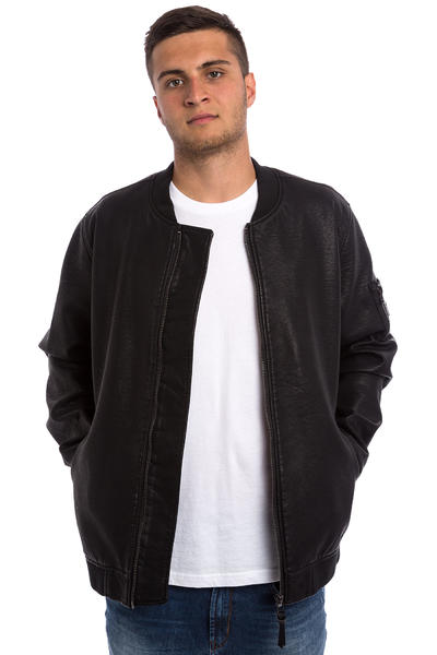 REELL Artificial Leather Bomber Jacke (washed black)