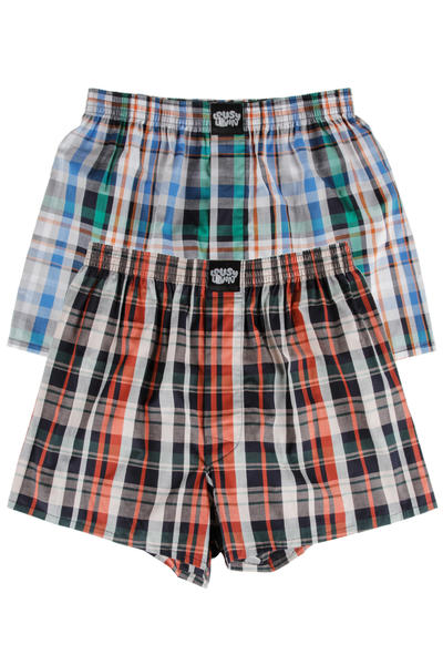 Lousy Livin Underwear Checks Boxershorts (brown) 2 Pack