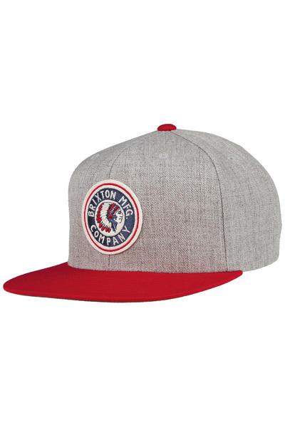 Brixton Rival Snapback Cap (light heather grey red)