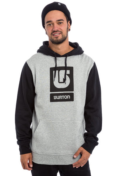 Burton Logo Vertical Hoodie (grey heather true black)