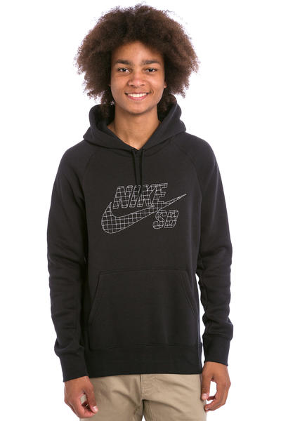 Nike SB Icon Grid Fill Hoodie (black metallic silver)