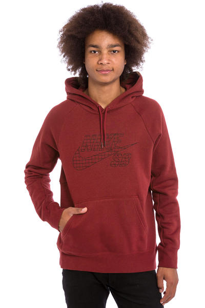 Nike SB Icon Grid Fill Hoodie (team red black)
